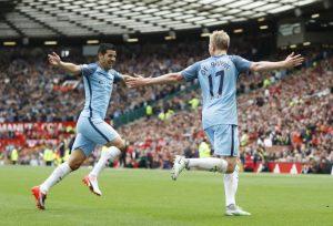 l'esultanza dei giocatori del Manchester City