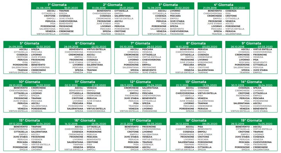 Calendario Serie B 2020 19.Calendario Serie A 2020 19