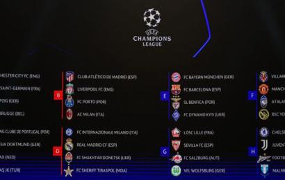 Champions League 2021/2022: il sorteggio degli otto gruppi